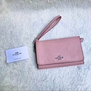 New Coach Flap Wallet /Wristlet in Pink